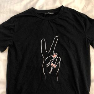 SHEIN Black Peace Sign Tee